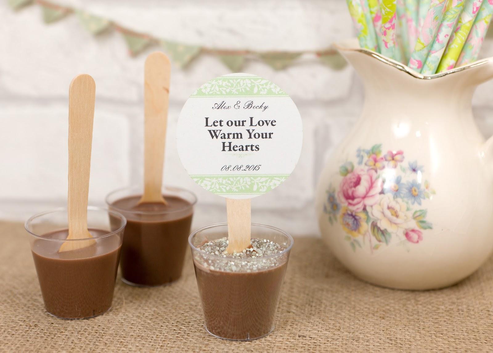 Razzle Dazzle Rose Hot Chocolate Wedding Favours