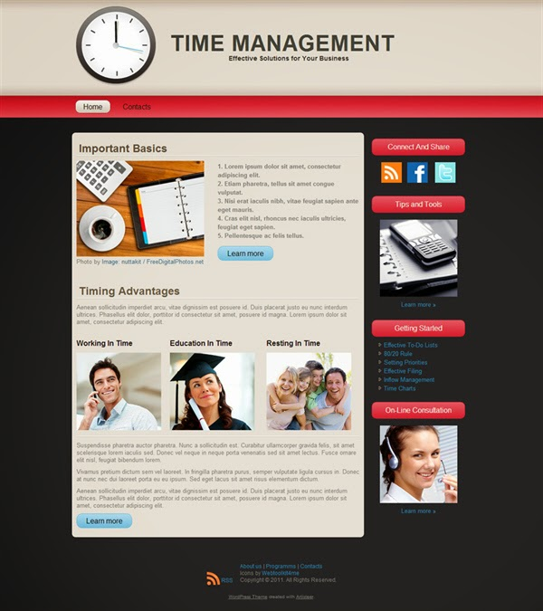 Time Management - Free Wordpress Theme