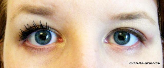 Jordana Best Lash Extreme Volumizing Mascara on the left;  no mascara on the right.