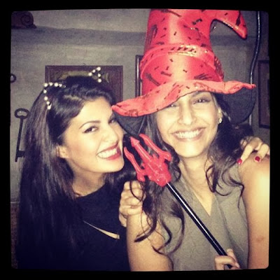 Jacqueline and Sonam's Impromptu Halloween costumes