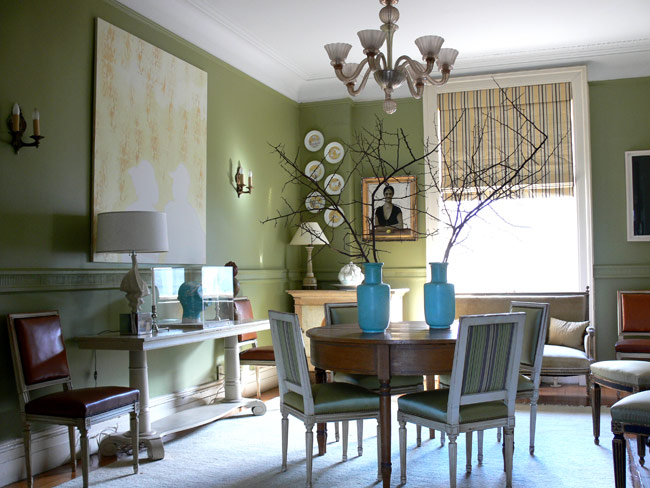 Green dining room prime home design green dining room for Breakfast room ideas