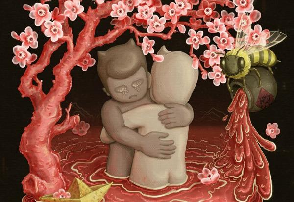 桃花潭水 - Peach Blossom Pool (detail) ©Huihong Huang - Tres Ilustraciones