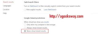Google's I'm Feeling Lucky : Disabling Google Instant