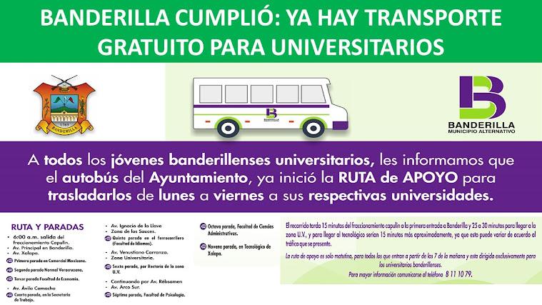 BANDERILLA CUMPLIÓ: YA HAY TRANSPORTE GRATUITO PARA UNIVERSITARIOS
