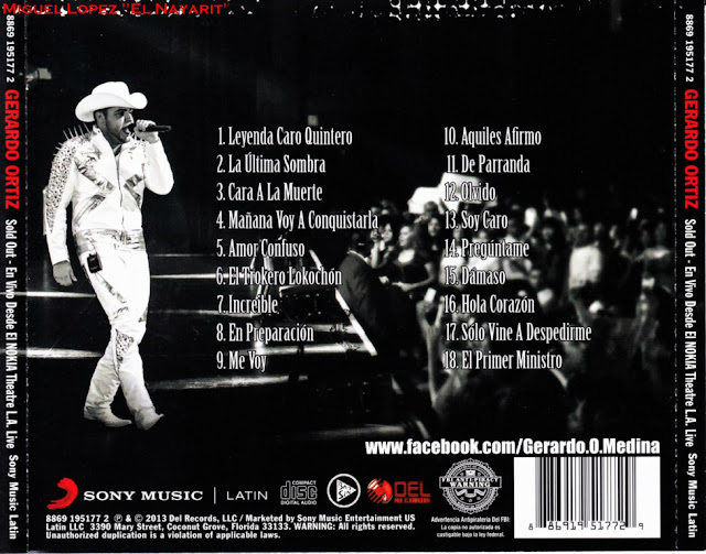 Gerardo Ortiz - Sold Out - En Vivo Desde El Nokia Theatre CD Album 2013 - Descargar Disco
