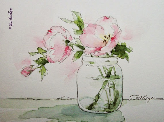 pink evening primroses watercolor by Rose Ann Hayes