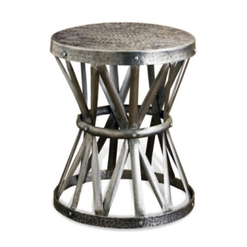 Karis Antique Silver Hammered Metal Garden Stool Side Table $623 By Kathy  Kuo Home
