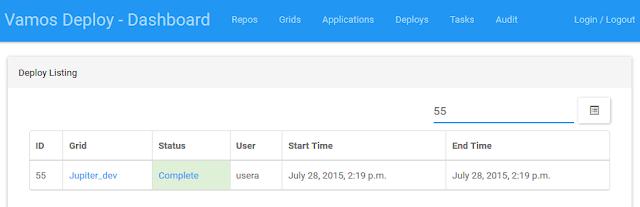 Vamos Deploy Dashboard showing the grid Jupiter_dev set to Complete.