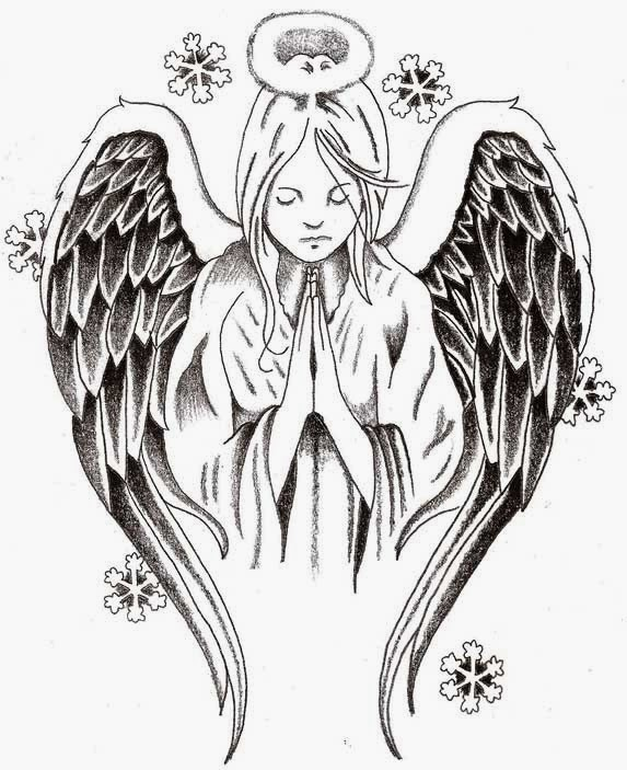 Angel praying tattoo stencil