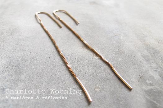 Boucles d'oreilles chaîne Charlotte Wooning bijoux vermeil rose