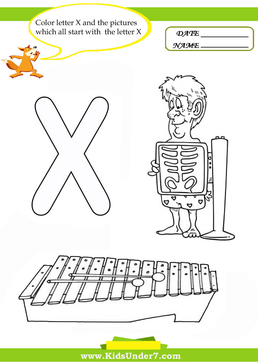 Kids Under  Letter X Worksheets And Coloring Pages