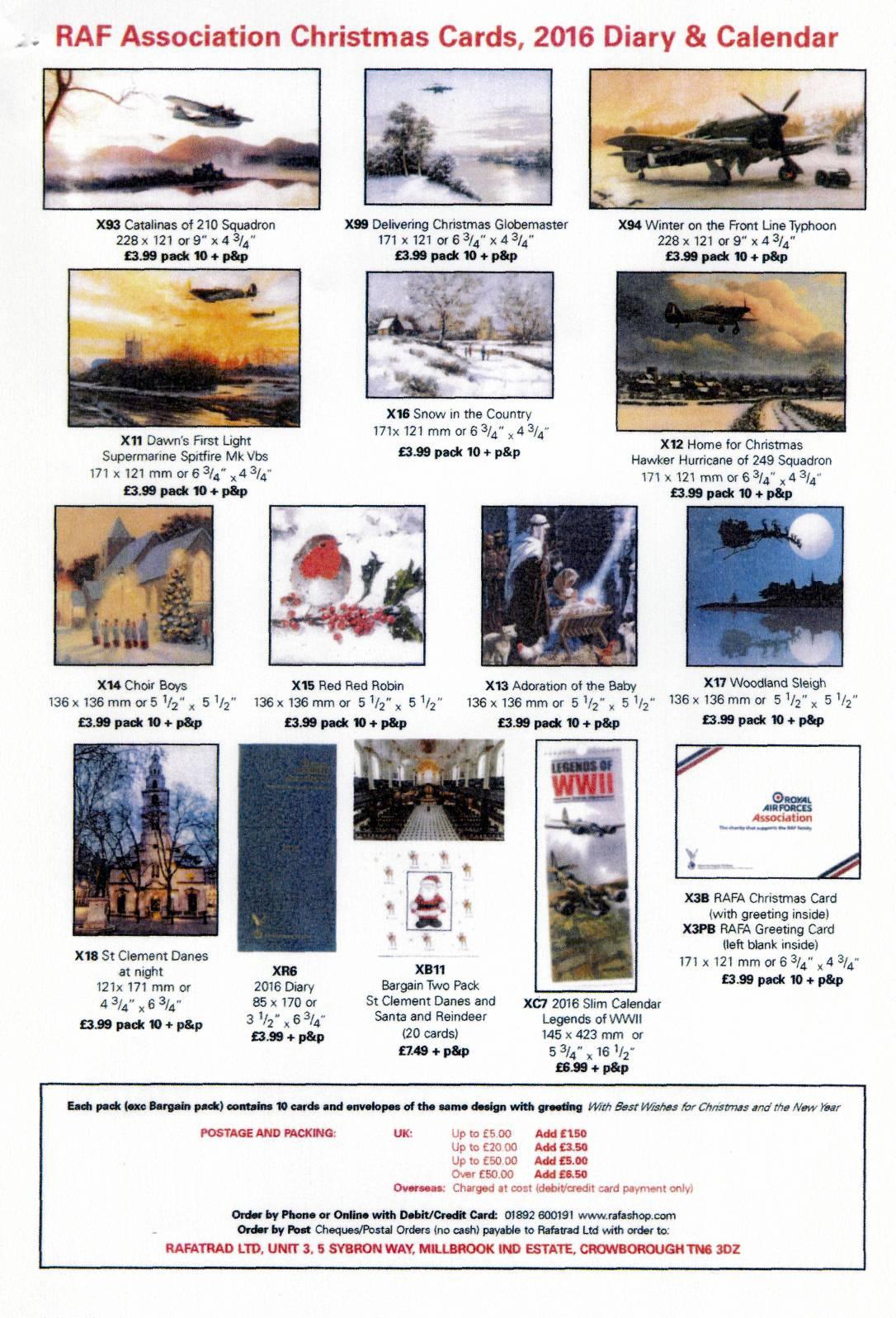 royal air forces association bedford branch rafa christmas cards