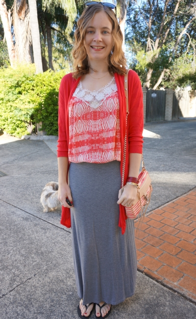 Printed crochet bib tank red cardigan grey maxi skirt autumn beach walk outfit