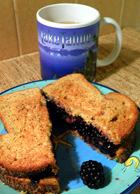 Smushberry Sandwich with Cup of Tea