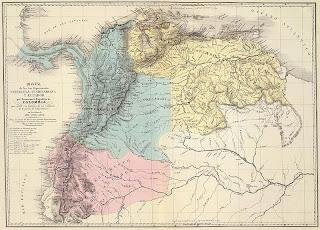 Mapa antiguo de ECUADOR, Venezuela y Nueva Granada año 1821
