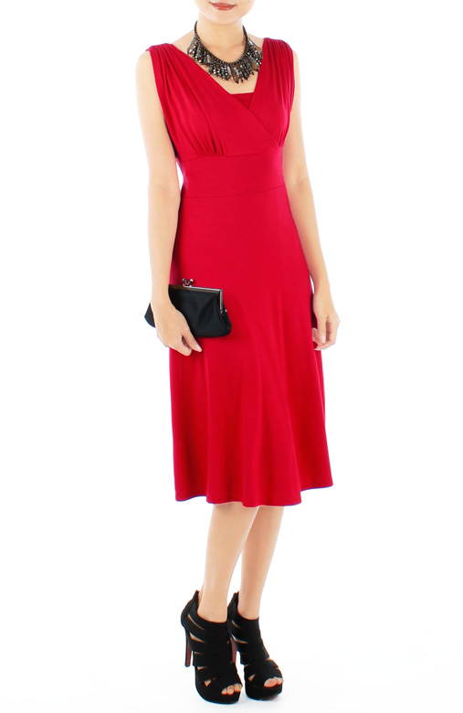 Ethereal Ruche V-Neck Flare Dress in Midi Length
