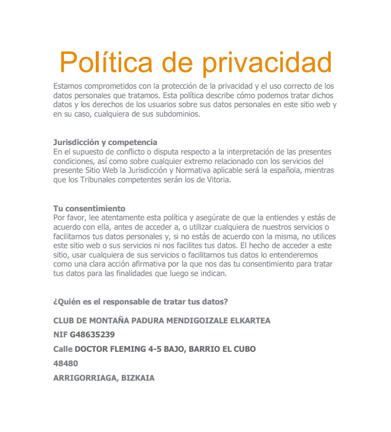 LEY DE PROTECCIÓN DE DATOS - PADURA MENDI TALDEA
