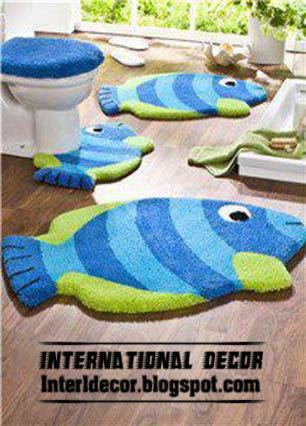 Bathroom Rugs Set Roselawnlutheran - Blue bath mat set for bathroom decorating ideas