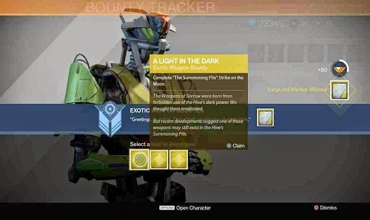 For each exotic bounty you get as reward a exotic weapon the bounty