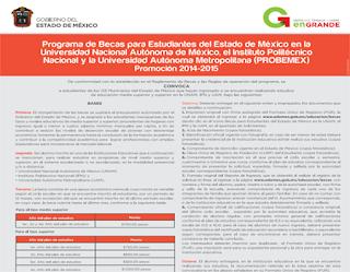 Convocatoria solicitud becas Probemex 2014-2015, requisitos inscripción al programa de becas para estudiantes del Estado de México