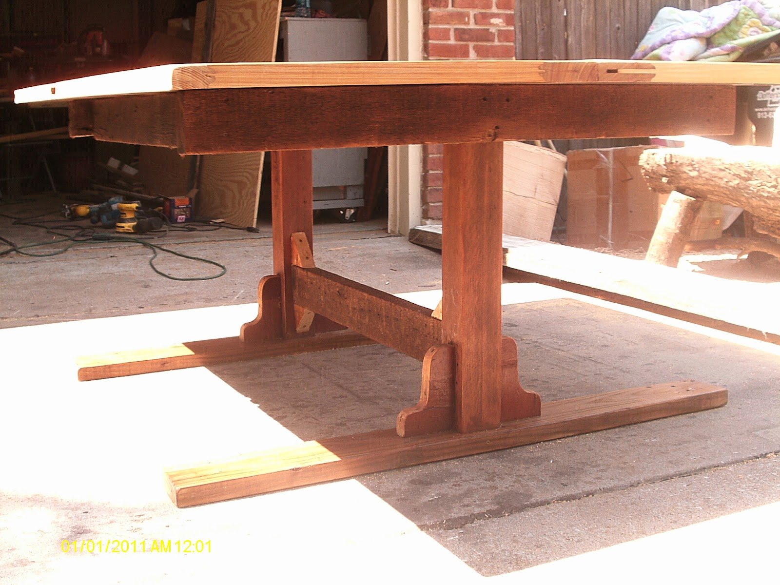 Dining table made from old door - I Had A Customer Bring Me Two Old Mahogany Doors And Ask That They Be Made Into A Dining Table For Them I First Made The Legs And Frame Under The Table