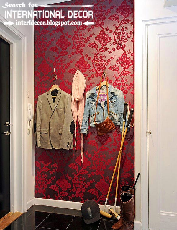 color combinations with red color in the interior, red wallpaper in the hallway