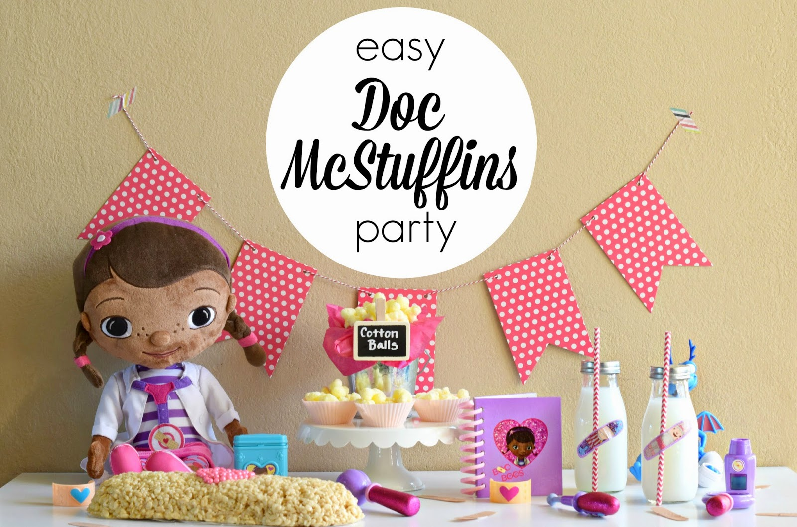 Mommy Testers, Doc McStuffins Party, Doc McStuffins cake, Band Aid cake, Doc McStuffins bandage cake, Doc McStuffins slumber party #shop #juniorcelebrates