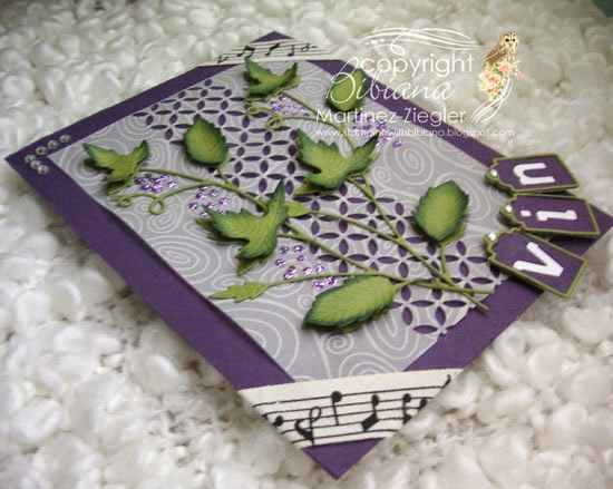 grape vine card flat view
