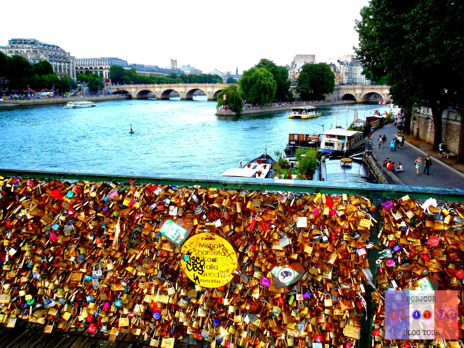 Pont des Arts Love Lock Bridge in Paris, France Overlooking the Seine River.