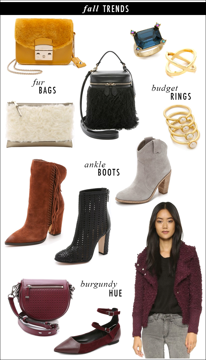 fall, what to buy fall, booties, ankle boots, fur bags, burgundy boots, burgundy flats, shopbop