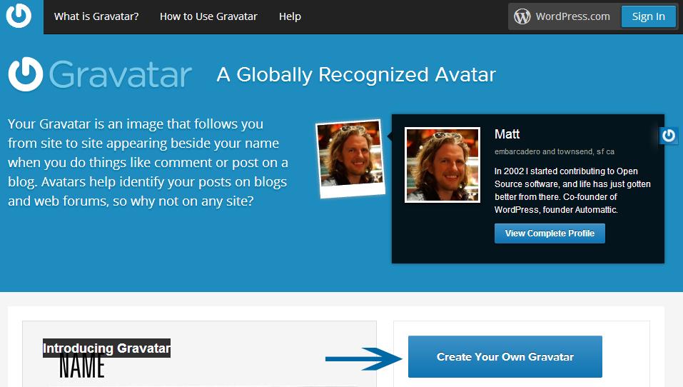create Gravatar