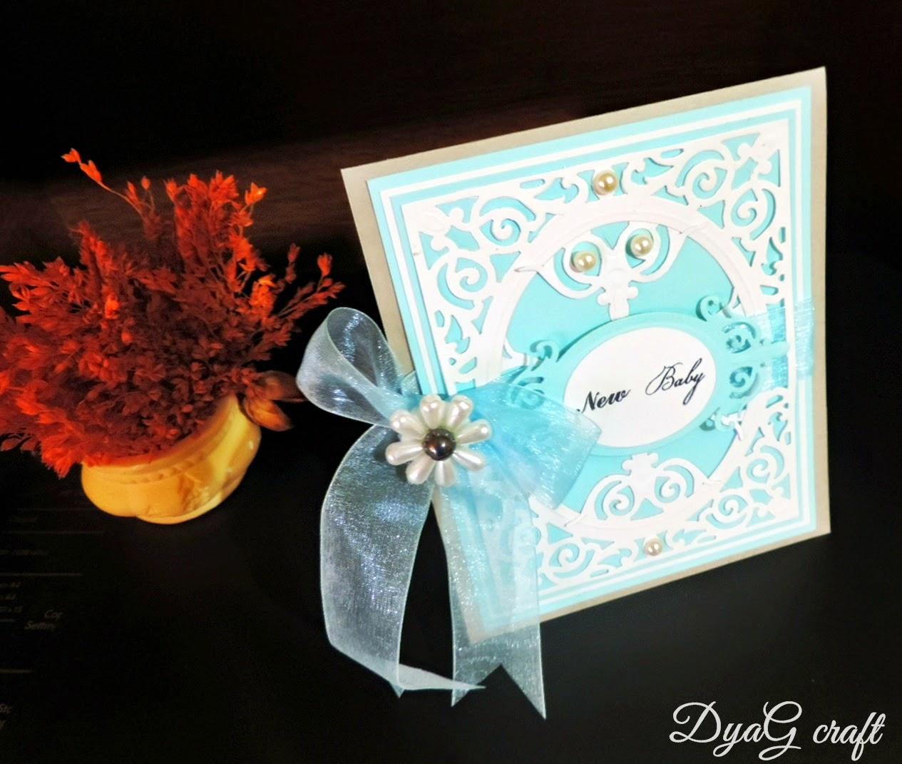 invitatie botez handmade albastra pentru baietei