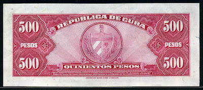 Cuba paper money 500 Pesos note