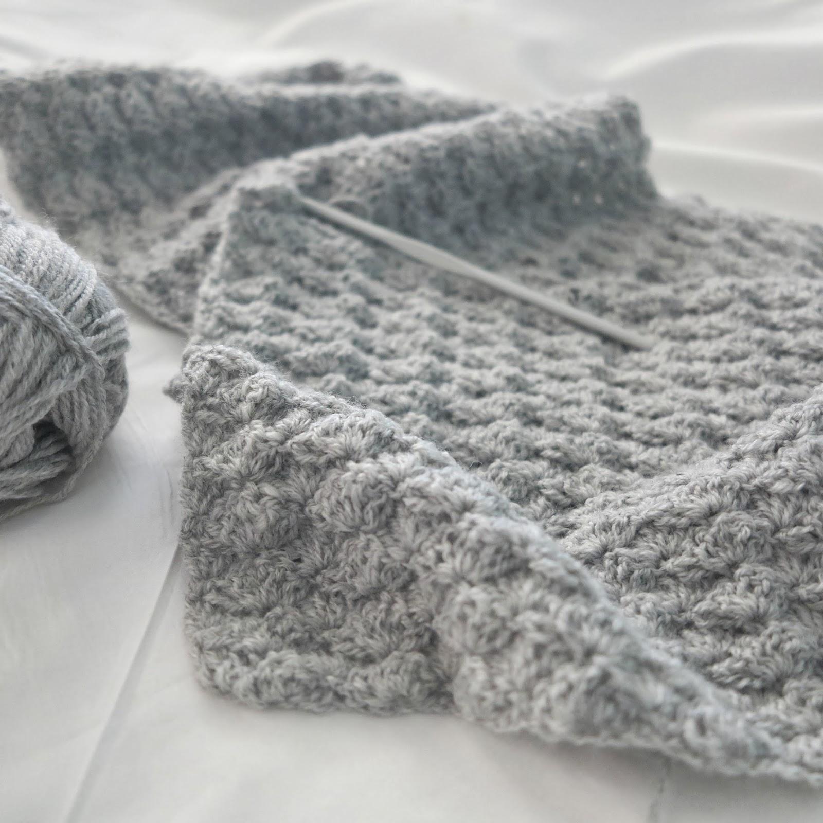 ByHaafner, crochet, scarf, wip, shell stitch,