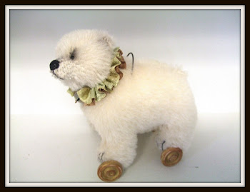 "SOLD! My Latest ""Bear on Wheels""-Antique Style Alpaca Bear"