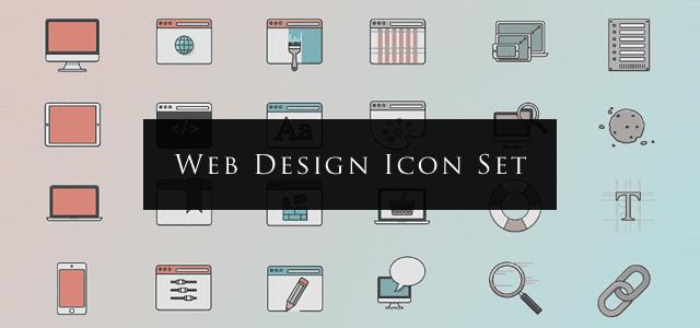 落ち着いた色使いが上品でクールなWEBデザインの無料イラストアイコン素材セット