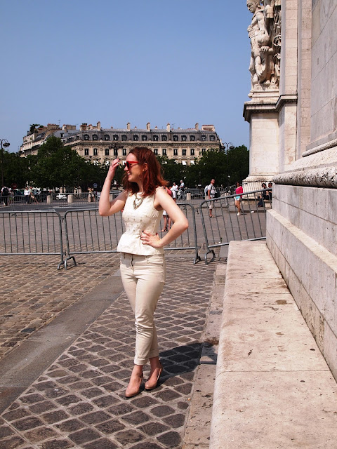 Arc de Triomphe white and gold peplum chinos sunglasses