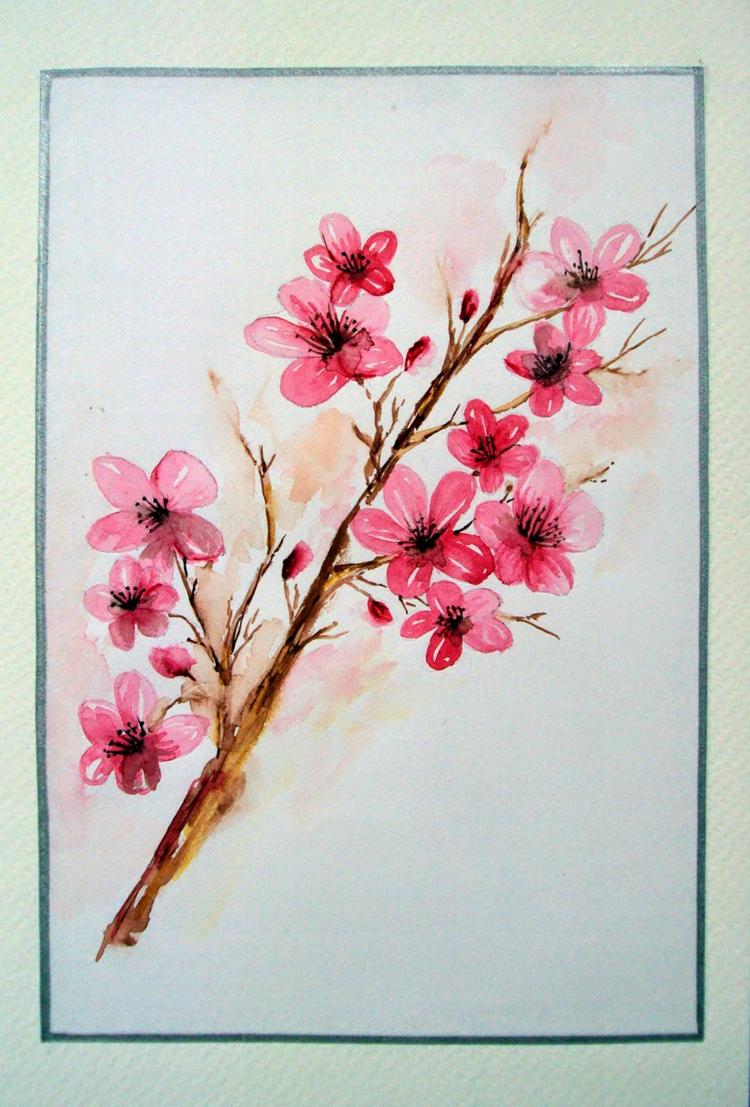 cherry blossoms, pink, flowers, painting, watercolor, singhroha, twig, nature, garden