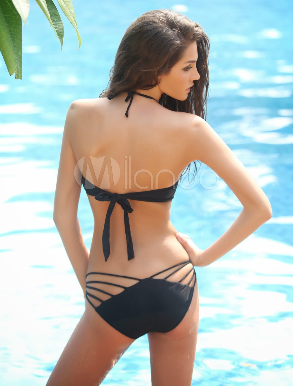 China Wholesale Clothes - Sexy Black Nylon Halter Women's Two Piece Bikini Swim Suit