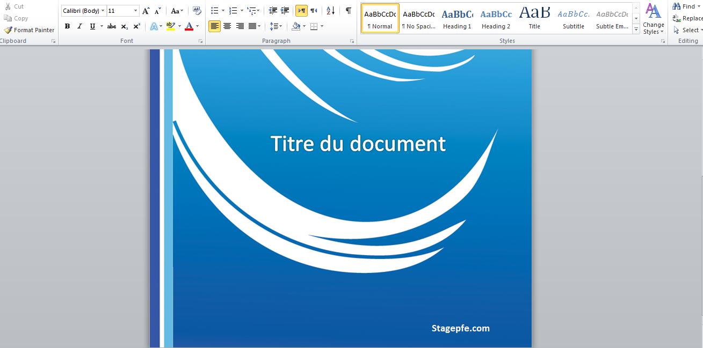 docx  modele page de garde rapport de stage word