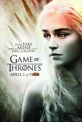 "Game of Thrones Season 2 Character Television Posters - ""I Will Take What Is Mine With Fire And Blood"" - Emilia Clarke as Daenerys Targaryen"
