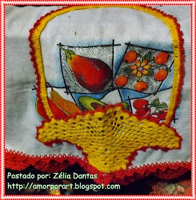 Barrado de cesta em crochê para pano de prato