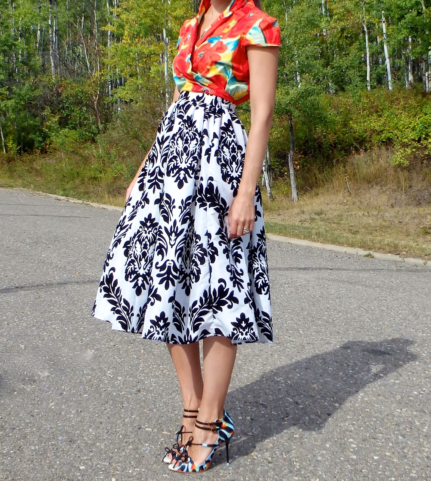Midi Skirt Outfit, Print Mixing