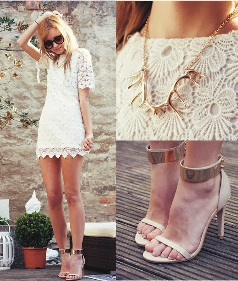 White Crochet Dress with gold details