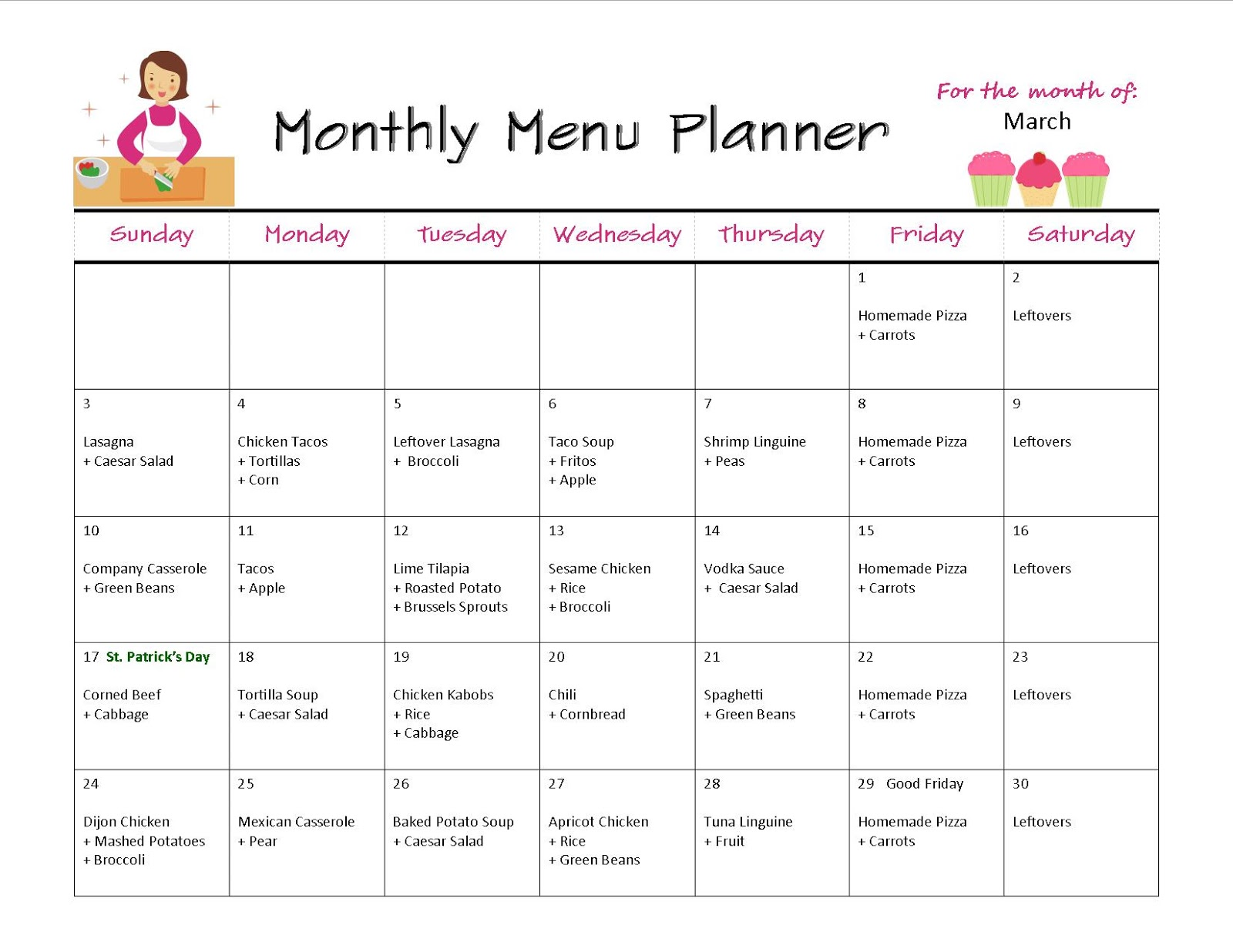 Monthly Menu Planner November 2008 7-12 Lunch Menu MENUS SUBJECT