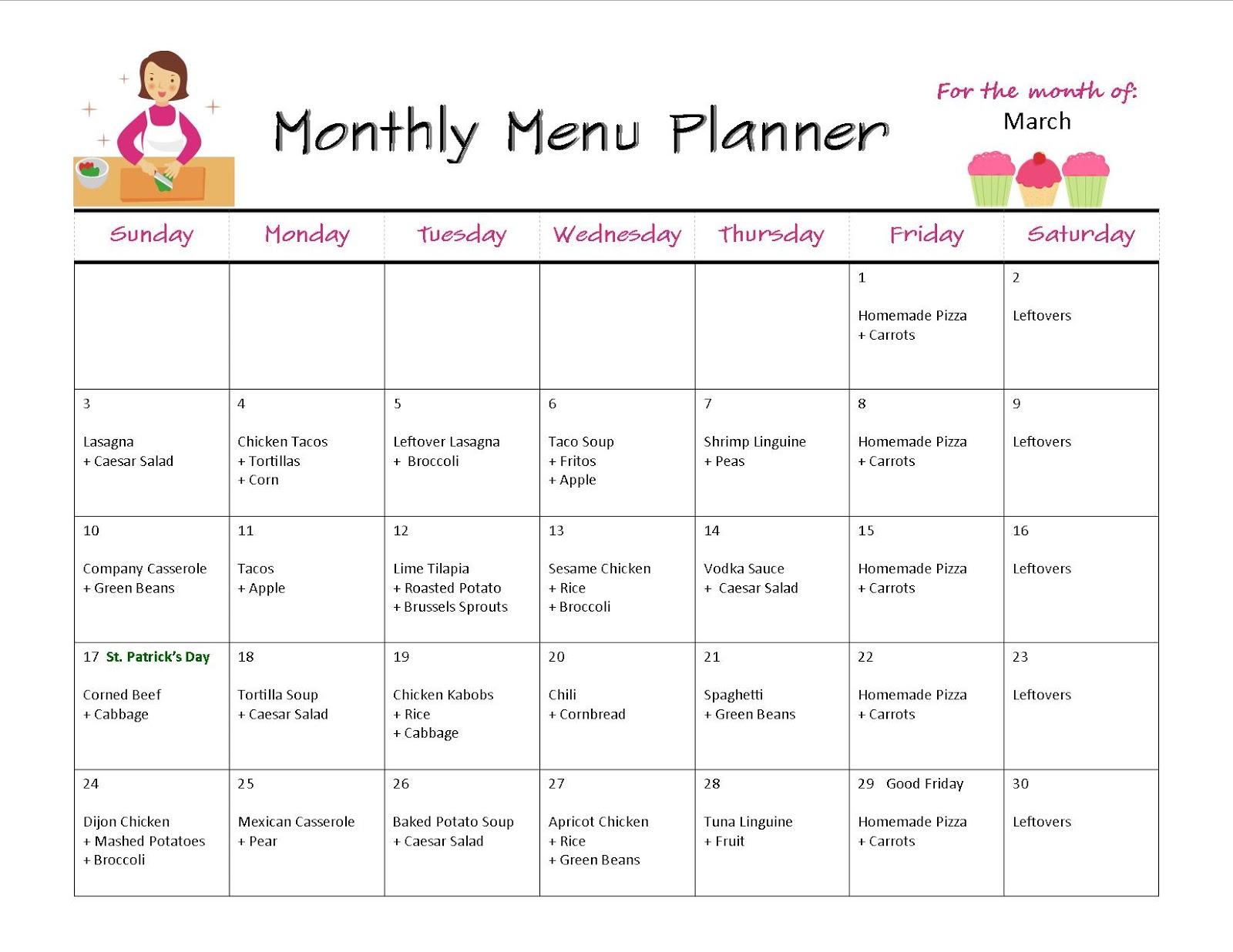 Weekly Calendar Menu Planner : Monthly menus images frompo