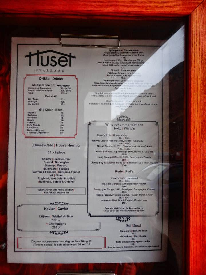 Menu of Huset fine dining in Svalbard, Longyearbyen