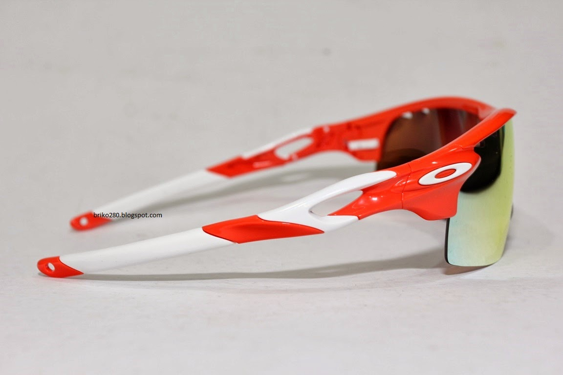 oakley radarlock polarized ot5o  oakley RadarLock XL Blood Orange frame with Fire Iridium Polarized Vented  lense + Persimon Vented lense