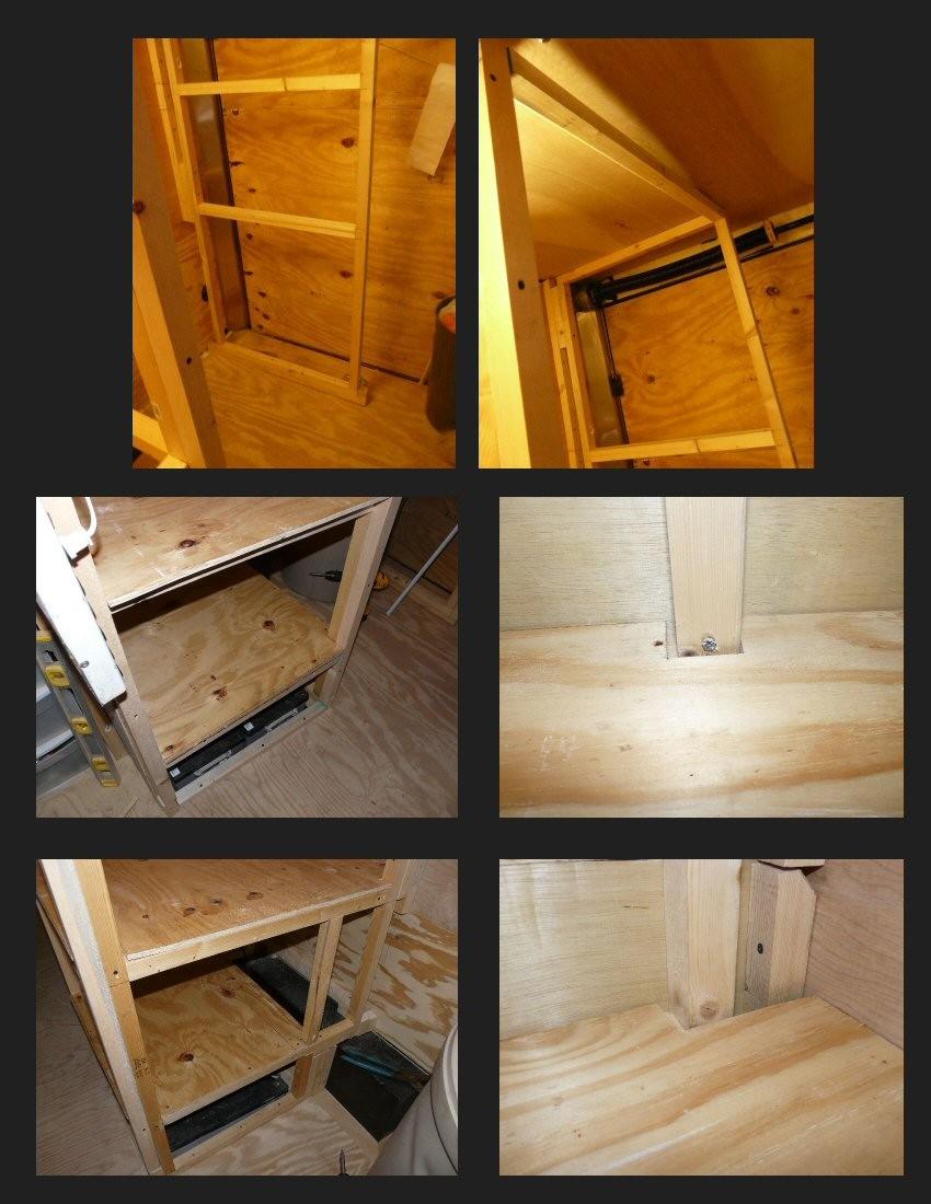 My Stealth Cargo Trailer: Bathroom / Shower area & Kitchen Shelving