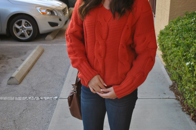 Sheinside Red Knit Sweater, charlotte russe refuge jeans, Arafeel bag, Payless flats border=